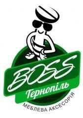 Логотип - Boss Тернопіль, меблева фурнітура, фасади, шафи-купе та гардеробні, матраци, столи та стільці
