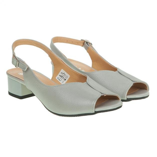 03270ec2945f20 Босоніжки жіночі Galant (шкіряні, на низькому каблуці, сірого кольору)