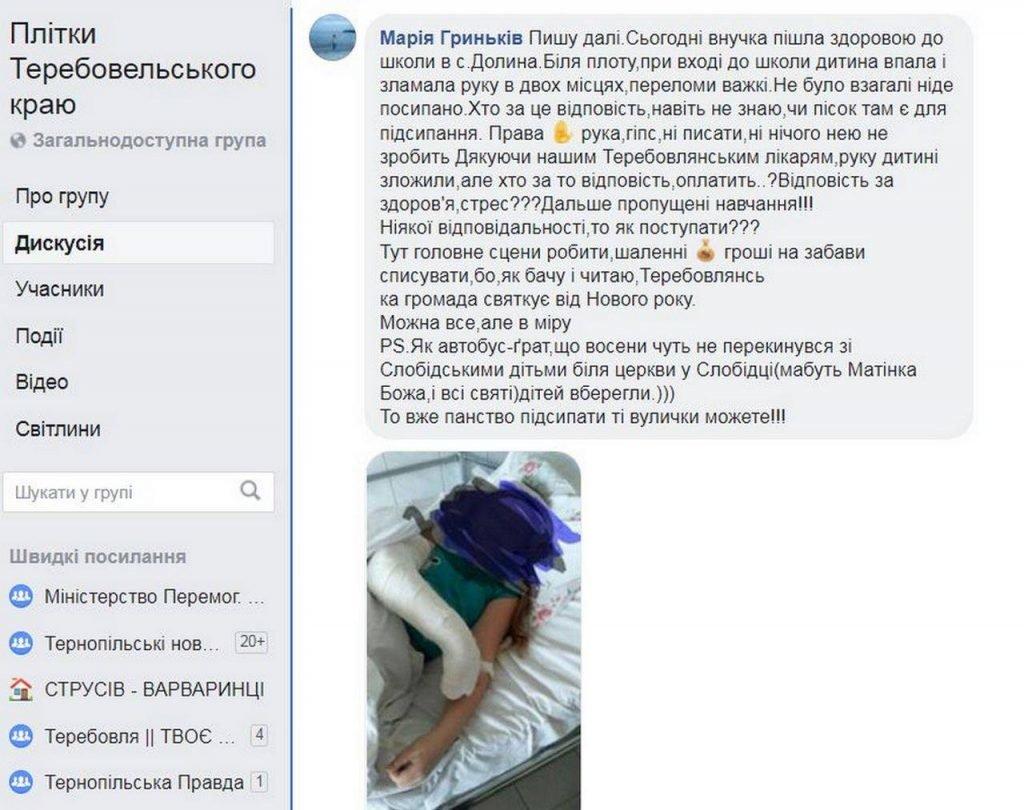 На Тернопільщині через ожеледицю при вході до школи школярка зламала собі руку, фото-1
