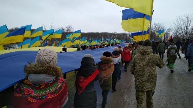 Стометровим стягом на Збручі зустрілися делегації сусідніх областей  - Тернопільщина та Хмельниччина (ФОТО), фото-2