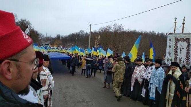 Стометровим стягом на Збручі зустрілися делегації сусідніх областей  - Тернопільщина та Хмельниччина (ФОТО), фото-3