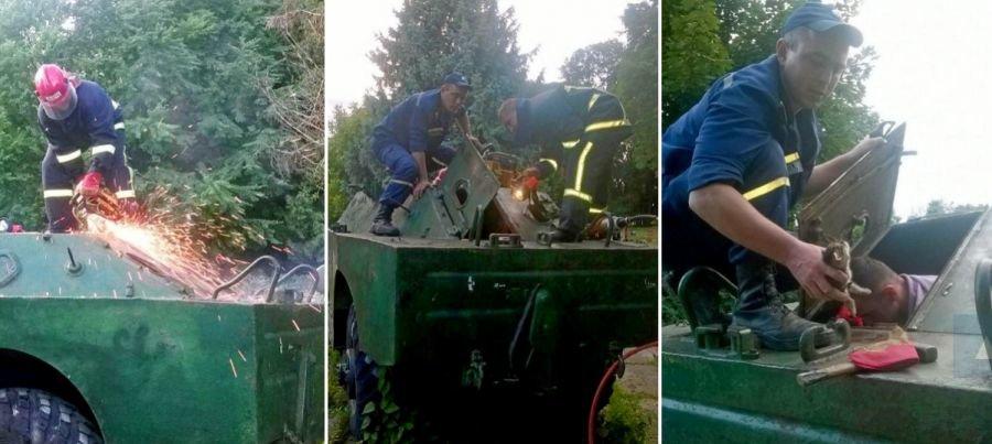 """У Тернополі рятувальники визволили кошеня з """"полону"""" бронемашини (ФОТО), фото-1"""
