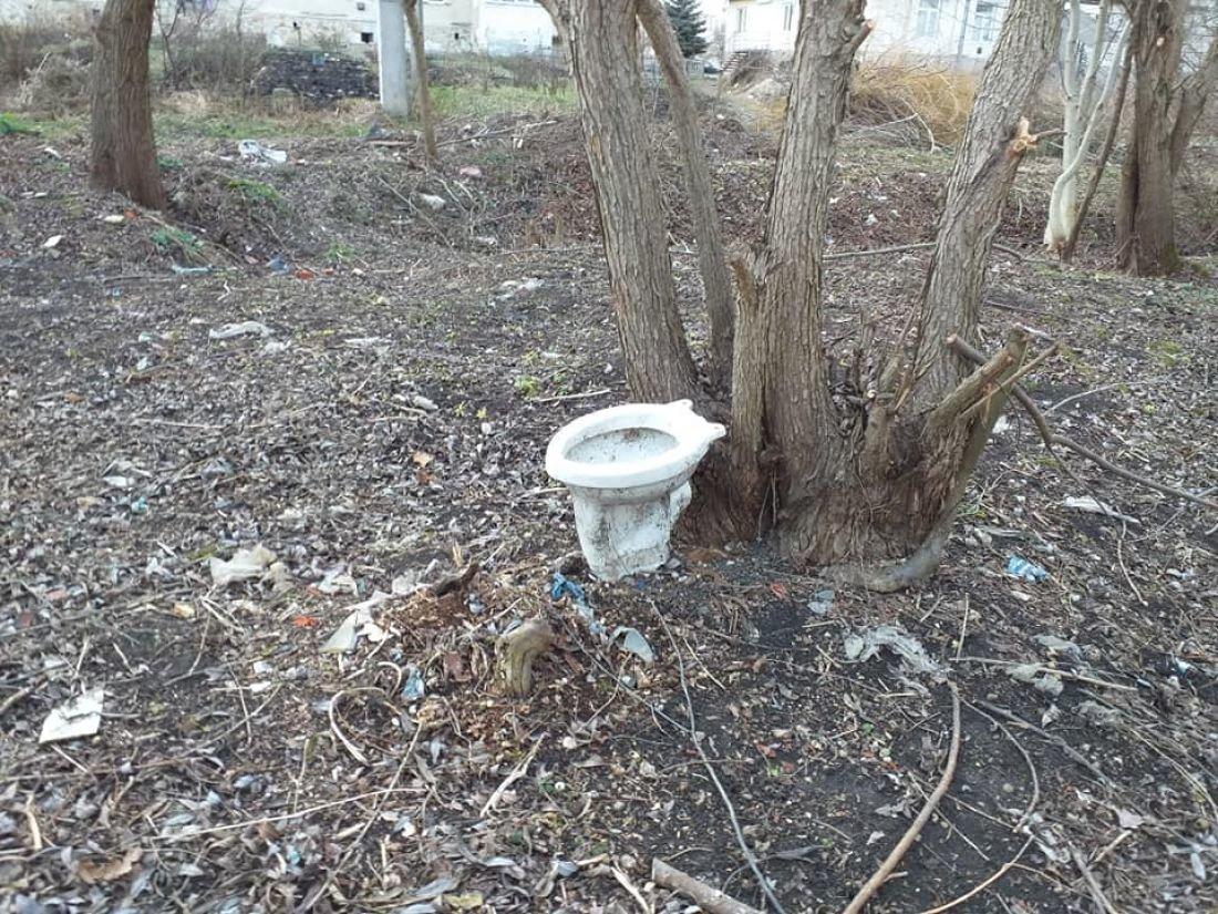 В райцентрі на Тернопільщині під міськрадою поставили унітаз (ФОТОФАКТ), фото-1