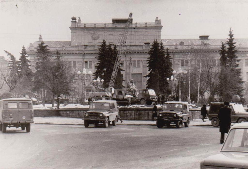 Оприлюднено чорно-білі світлини встановлення пам'ятника Тарасу Шевченку у Тернополі (ФОТОРЕПОРТАЖ), фото-7