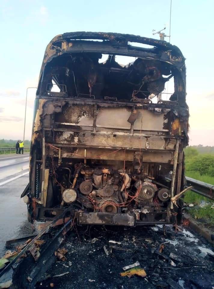 Пожежа в автобусі, що повертався з Польщі